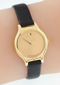 18k Yellow Gold Movado Watch w/ Black Leather Band Nice