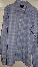 Savoy Taylors Guild-Londra (esclusivo) BLU Check Camicia Lavoro UK 16,5 EU 42,5