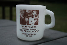 "Vntg Milk-White Mug Cup Photo Mickey & Judy ""The Wizard Of Oz"", USA"