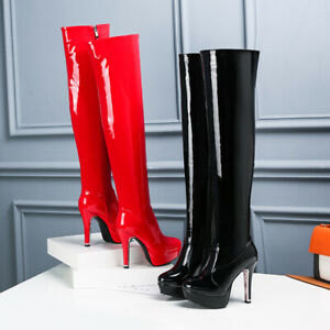 Womens Sexy Patent Leather High Heels Over The Knee Platform Shoes Zipper Boots