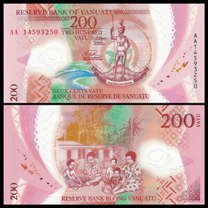 Vanuatu 200 Vatu, 2014, P-12, Polymer, Banknote, UNC