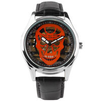 Casual Men Skull Hand Wind Mechanical Watch Army Leather Band Bracelet Gift