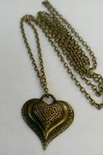 "A Love Heart Bronze Tone Charm Pendant, Long ( 30"" ) Chain Necklace, Lovers Gift"