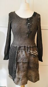 Elisa Calvetti Club Size 12/14 Dark Taupe Knitted Dress With Cotton Skirt