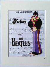 The Beatles - John Lennon - Yellow Submarine - Hand Drawn & Hand Painted Cel