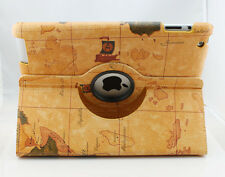 360° Rotatable Antique World Map Leather Skin Case Cover For Apple iPad 2 3 4 4G