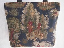 Artisan Treasures Handcrafted Equestrian Fox Hunt Riders Navy Tote Purse NEW