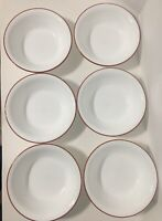 "SET OF 6 CORELLE VITRELLE ""SPLENDOR"" SOUP OR CEREAL BOWLS WHITE W/ RED TRIM EUC"