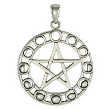 Sterling Silver Moon Phase Pentacle Pentagram Pendant Goddess Wicca Jewelry