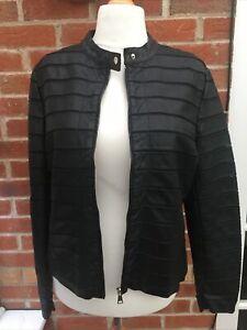 Ladies Klass Size 18 Black Faux Leather Biker Jacket Soft Feel Immaculate