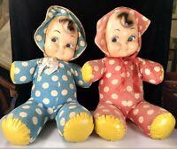 "Mid Century Pair of Samet & Wells Stuffed Polka Dot Carnival Prize 18"" Dolls"