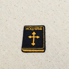 Black Holy Bible Gold Cross  - Religious - Iron on Applique/Embroidered Patch
