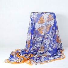 Extra Large Square Chiffon Scarf Blue and Yellow CHF105