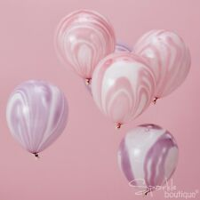 MARBLE EFFECT BALLOONS - Pink & Purple Unicorn Party Decorations -Helium Quality
