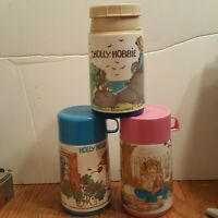 VTG American Greetings Holly Hobbie Lunch Box Thermos Lot of 3 - 1980s