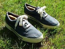 SPERRY TOPSIDERS BOAT SHOES 11M BLUE CANVAS NON SCUFF RUBBER EDGES SHIP-SHAPE !