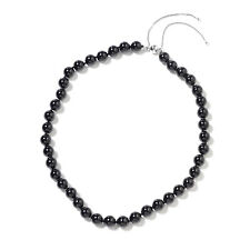 """925 Sterling Silver Rhodium Over Black Tourmaline Beads Necklace Size 18-24"""""""