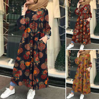 ZANZEA UK Women Long Sleeve Floral Printed Abaya Casual Loose Kaftan Baggy Dress