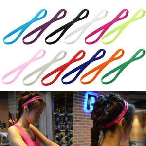 1X Women Men Yoga Headband Sport Anti-slip Rubber Sweatband Elastic Hair Bands
