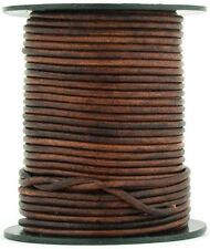 Xsotica® Brown Distressed Round Leather Cord 1mm 25 meters (27 yards)