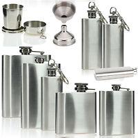 2 4 6 8 oz Stainless Steel Hip Flask Pocket Drink Whisky Liquor Vodka Holder Cup