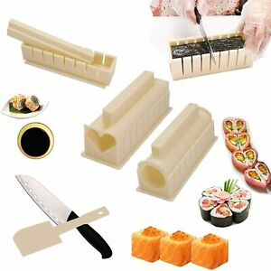 Beige Promisen Bamboo Sushi Kit,Sushi Maker Kit Rice Roll Mold,Kitchen DIY Mould Roller Mat Rice Paddle Set,Beginner Sushi Making Kit