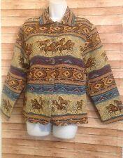 jane ashley Wild West horse stallion tapestry jacket Women's size S