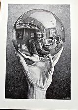 M C Escher Self-Portrait Poster Reprint of Self In Sphere 16x11 Offset Lithograp