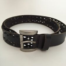 Leather Diamond Laser Cut Silver Stud Boho Western Women's Large Size 36 Belt