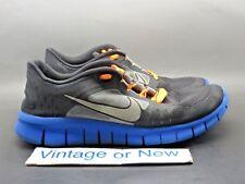 Nike Free Run 3 Black Royal Blue Silver Running Shoes 512165-004 sz 7Y