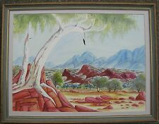 THERESE RYDER HERMANNSBURG FRAMED WC GHOST GUM MACDONNELL RANGES C 1980