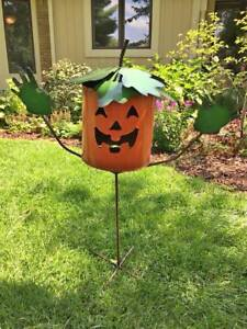 AWESOME 3' + FT TALL HALLOWEEN PUMPKIN LAWN METAL YARD ART - CAN BE LIGHTED/LIT