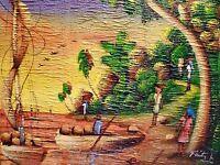 Vintage HAITIAN Jungle Boats TEXTURED Impasto LANDSCAPE Haiti PAINTING Feitz