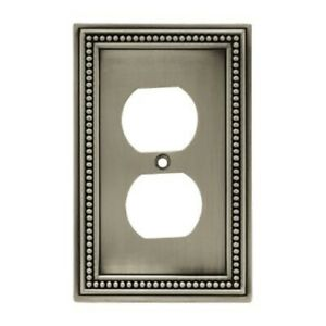 Brainerd 64776 Brushed Satin Pewter Beaded Single Duplex Cover Plate