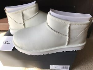 New Authentic Ugg Classic Ultra Mini Boots, Rare White Color, Women's Size 8