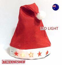 Adult Lady Child Christmas Xmas Santa LED Light up Flashing Costume Red Hat Cap
