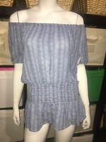 Michael Kors Off Shoulder Animal Print Blouse Banded Waist Women's Size Medium
