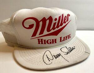 Danny Sullivan Miller High Life Hat Racing Signed White SnapBack Trucker Cap VTG