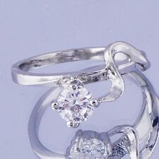 Elegant Womens White Gold Filled Clear crystal Ring Gifts Size 5 Free Shipping