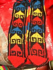 LEG WARMERS  BLUES YELLOW  BLK LEATHER SOLE SLIPPERS SOCKS SOX DANCE GYM SKI  S