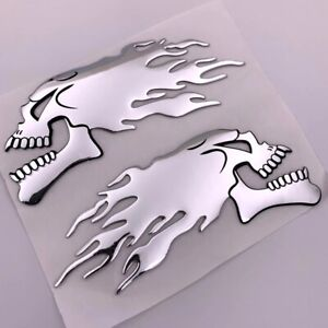 2x Chrome Ghost Skull Head Motorcycle Truck Helmet Tank Pad Stickers Flame Decal
