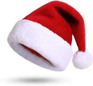 Bonnet De Père Noël  De Luxe Avec Pompon Adultes / Enfants Fête Déguisement Neuf