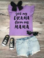 Toddler, Girls Drama Mama Lavender Flutter Sleeve T-Shirt Tee Top 2T 3T 4T 5 6