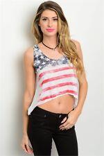 Misses Flirty Vintage Style American Flag Tank Top Size Medium NEW