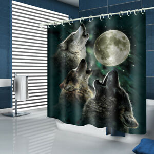 Wolf Moon Shower Curtain Bathroom Rug Set Bath Mat Non-Slip Toilet Lid Cover