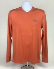 UNDER ARMOUR Mens Cold Gear Baselayer Orange Long Sleeve T Shirt Size M Medium