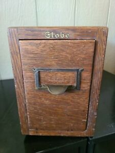 Rare Vintage Globe Antique Wood Library Card Catalog Single Drawer File Cabinet