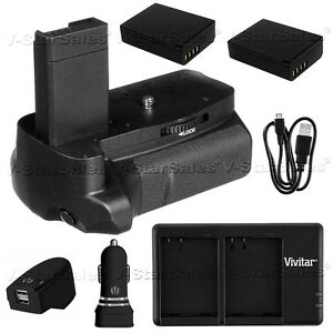 Battery Grip for Canon EOS T3 T5 + 2x LP-E10 Batteries + AC/DC Dual Charger Kit
