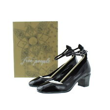 fe58d316fdb People Womens Lana Block Heel Leather Double Ankle Strap Shoes Black 8