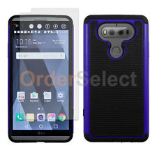 Hybrid Rugged Rubber Case+LCD Clear HD Screen Protector for Android LG V20 Blue
